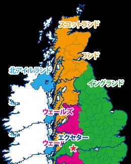 エクセターの地図