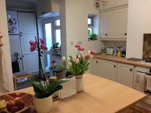 朝食はキッチンテーブルで自由な時間に。全館24時間暖房でポカポカでした